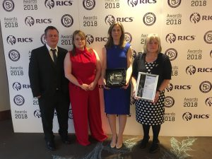 Photo of The team receiving the RICS award