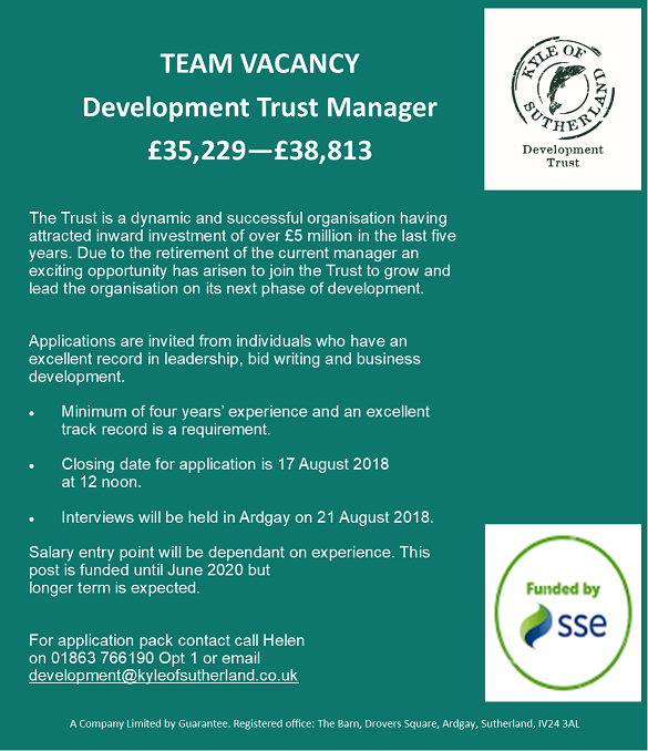 Image of job advert for Development manager
